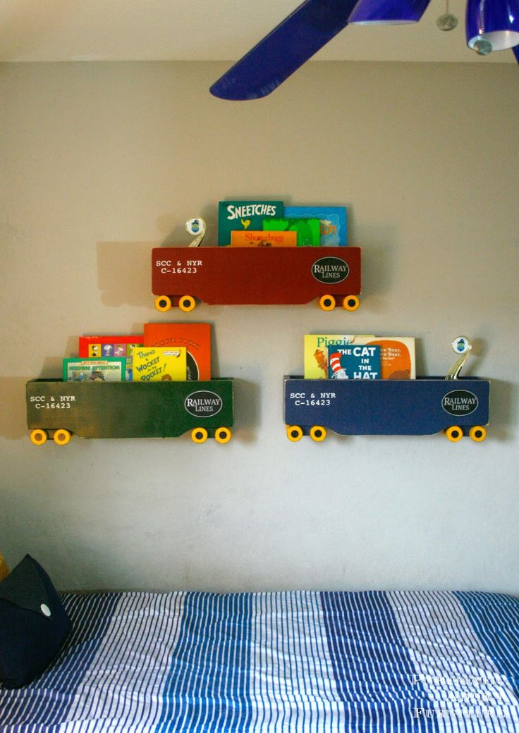 A few weeks ago, I was looking at the adorable, train themed boy's room at The Heathered Nest when I spotted a set of super cute box...