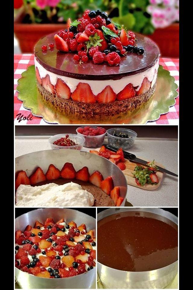 chocolade aardbeien taart