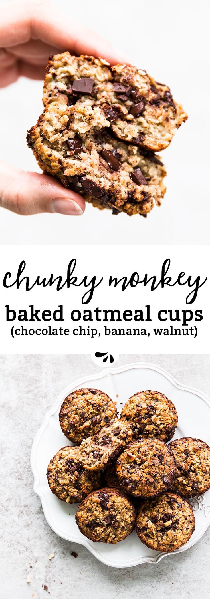 Chunky Monkey Baked Oatmeal Cups are full of whole grain oats, chocolate chips, banana and walnuts. They pack protein from the eggs and are SO easy to make. You can either let them sit overnight or bake right away. Perfect for meal prep breakfast, as they are great to make ahead and also freezer friendly. Kids absolutely love them, and they're great as a grab and go breakfast for busy school mornings!