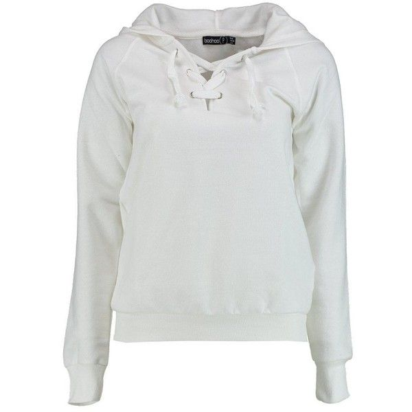 Boohoo Petite Frances Lace Up Hooded Sweat | Boohoo (32 CAD) ❤ liked on Polyvore featuring tops, hoodies, petite tops and petite hoodies