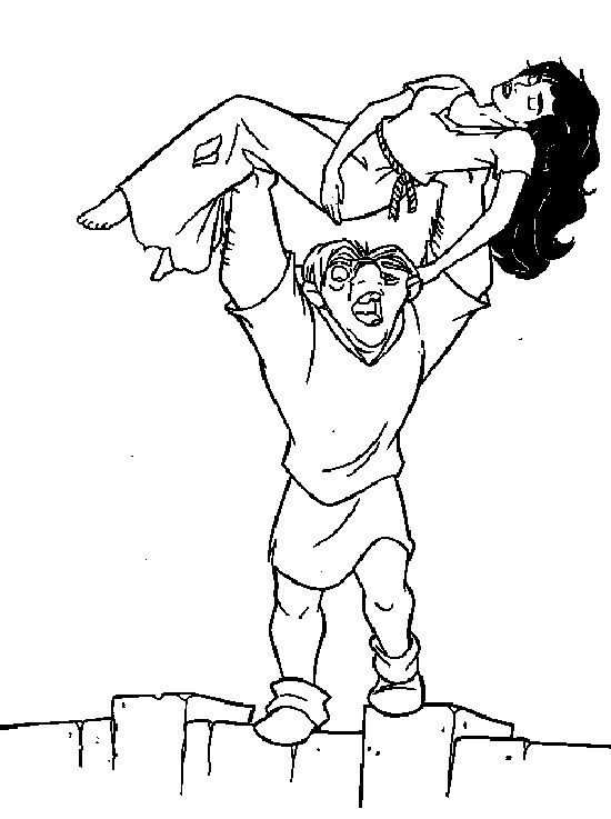 Quasimodo Lifting Esmeralda Coloring Pages For Kids Printable Hunchback Of Notre Dame