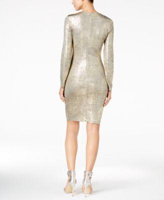 Calvin Klein Metallic Faux-Wrap Dress, Regular & Petite Sizes, A Macy's Exclusive Style - Gold 10P