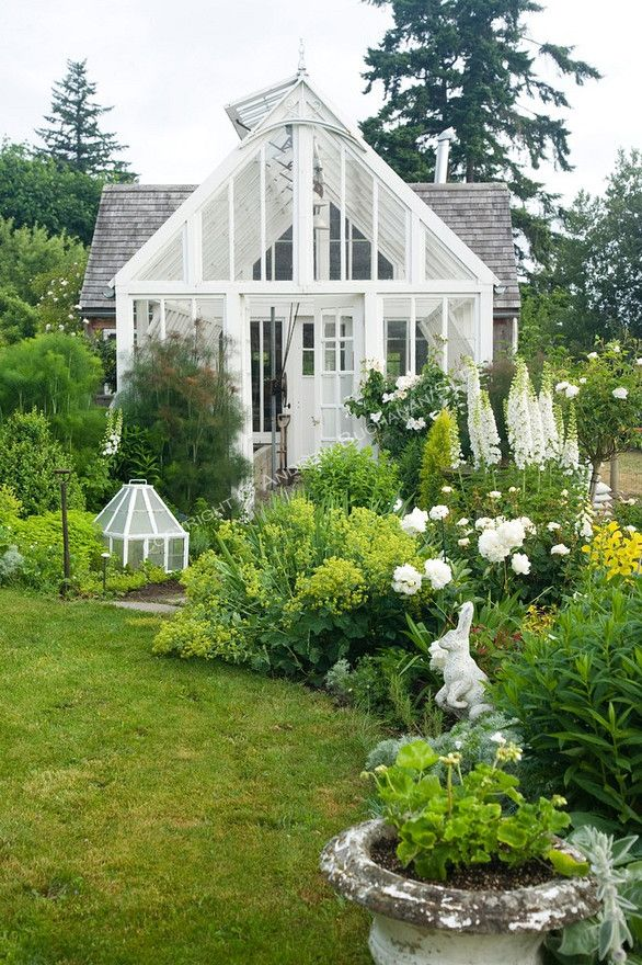 ~ beautiful Victorian-style greenhouse salvaged and painted white