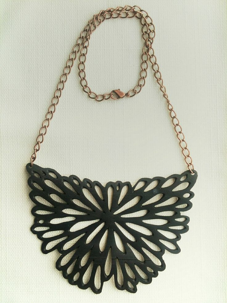 Upcycle bike inner tube necklace- Floral - | Felt