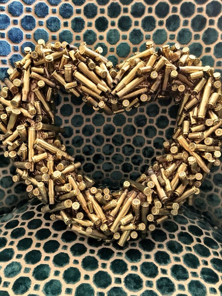 Wreath made of bullets! Latest crafty project. Recycled crafts, bullet and shotgun shell crafts, wreath ideas.