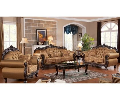CMS  Sharon Victorian Brown Satin Upholstery With Tufted Design And Plush  Cushion Seating Living Room