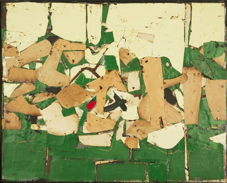 Conrad Marca-Relli (1913 - 2000), Untitled, 1958. Oil on canvas-collage on canvas, 38 x 47 1/2 inches. Suggested books: New York School Abstract Expressionists Artists Choice by Artists. Pages 234-237  American Abstract Expressionism of the 1950s An Illustrated Survey. Pages: 218-221  American Abstract and Figurative Expressionism Style is Timely Art is Timeless. Pages: 156-159