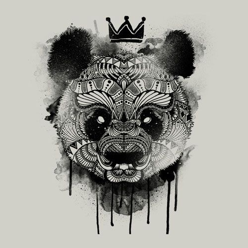 Neo Panda Illustration Detail Art Tee Crown Drawing Paint Spray Drip