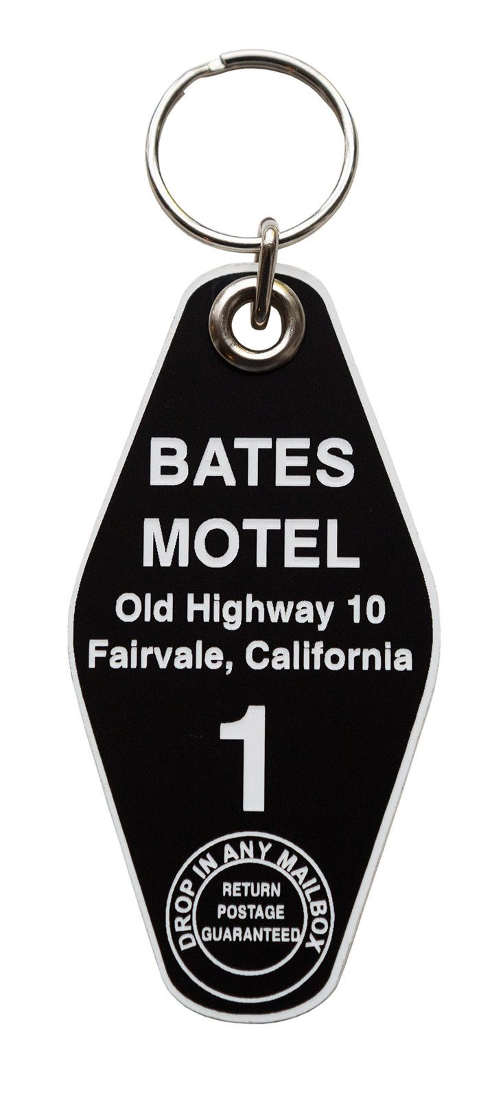 Bates Motel Key Tag, Room 1. Adorn your keys or keychain with this vintage style key tag, inspired by the iconic motel from Alfred Hitchcock's Psycho! Just remember to stay out of the bathroom. • Blac