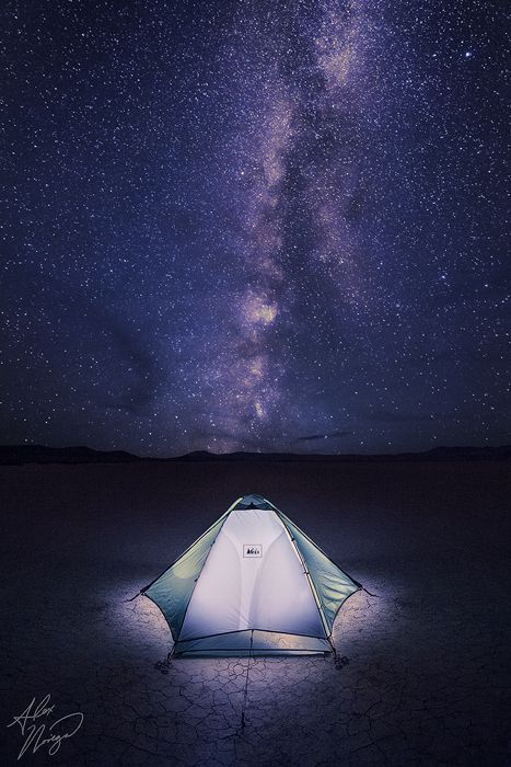 """""""Our Place in the Cosmos"""": Camping at Alvord Desert in Oregon. Photo by Alex Noriega."""