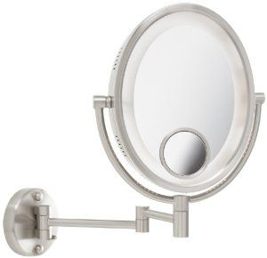 Jerdon HL9515N 8-Inch Two-Sided Swivel Oval Halo Lighted Wall Mount Mirror with 10x and 15x Magnification, 14-...