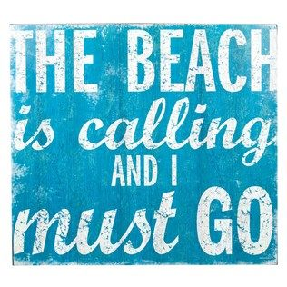 "Stay in vacation mode with this beautiful blue ""The Beach is Calling"" wall plaque!"