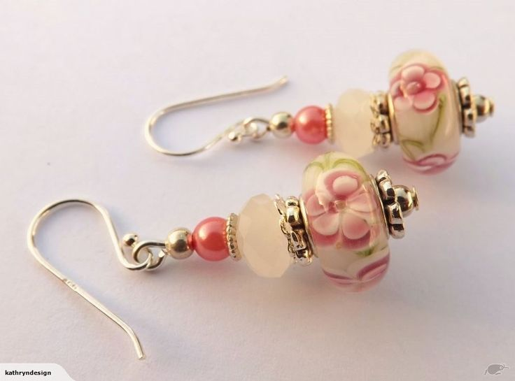 Pink Flowes on White Art Glass Bead Earrings | Trade Me