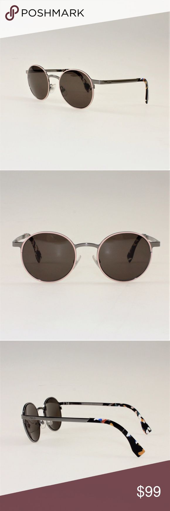 Fendi Round Lense Sunglasses These stunning sunnies come in a fun myriad of colors with peach around the eyes, dark silver frames, and an abstract blend of white, blue, peach and many other colors on the arms. These are 100% authentic Fendi glasses and come in a size 49mm frame. They come with a carrying case, cleaning cloth, and authentication card. #50KDWS Fendi Accessories Sunglasses