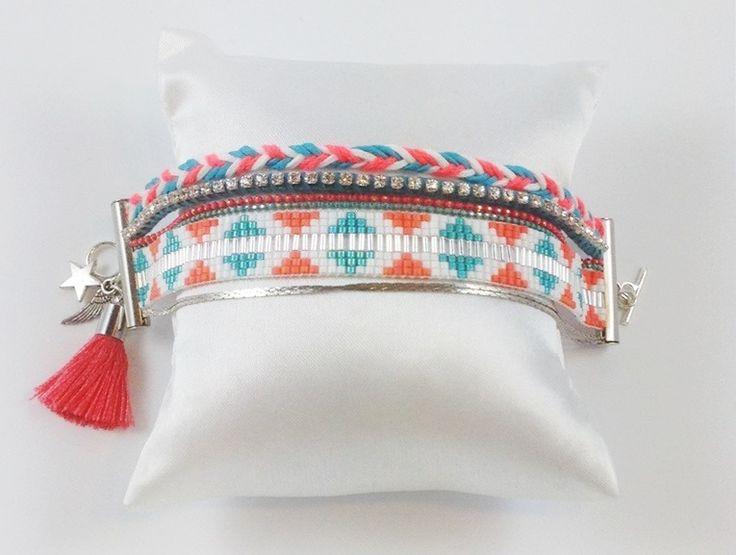 Bracelet manchette perles miyuki TURQUOISE et CORAIL