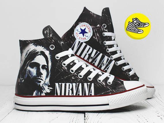 Nirvana custom converse sneakers painted Kurt Cobain rock shoes