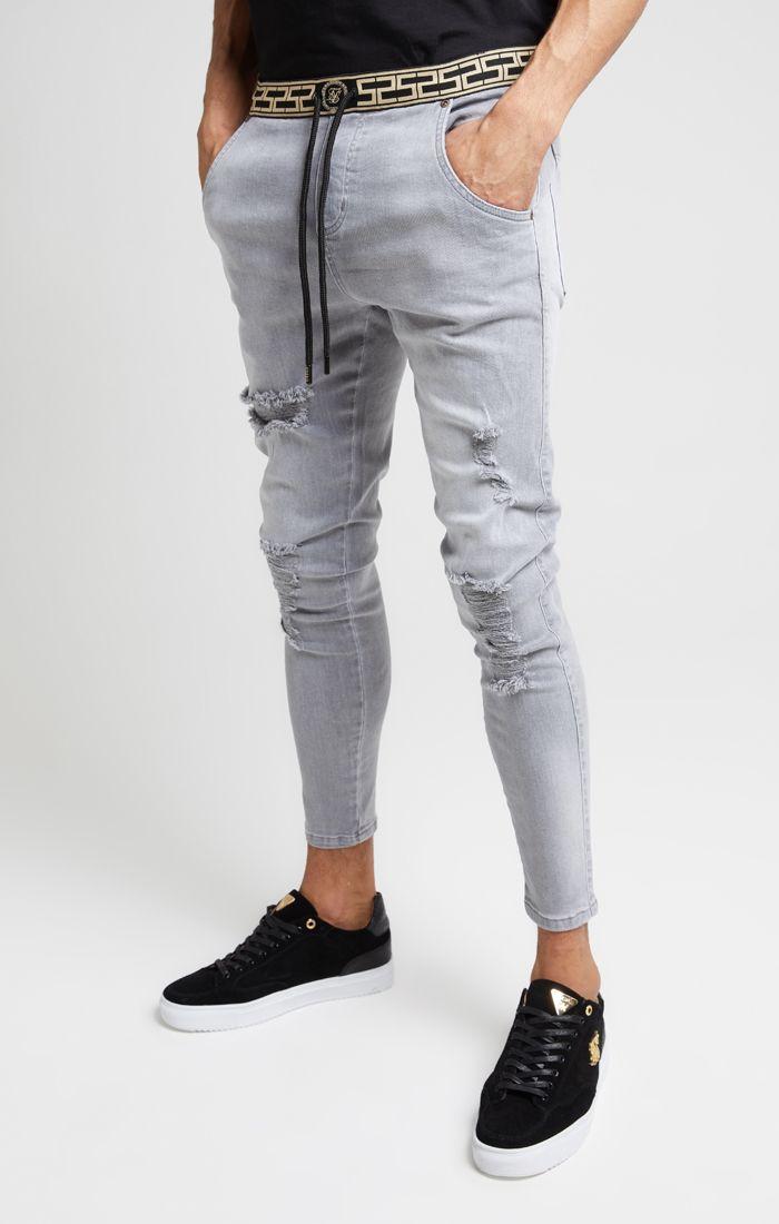 SikSilk Jeans Herren SKINNY DISTRESSED SS-15903 Grey