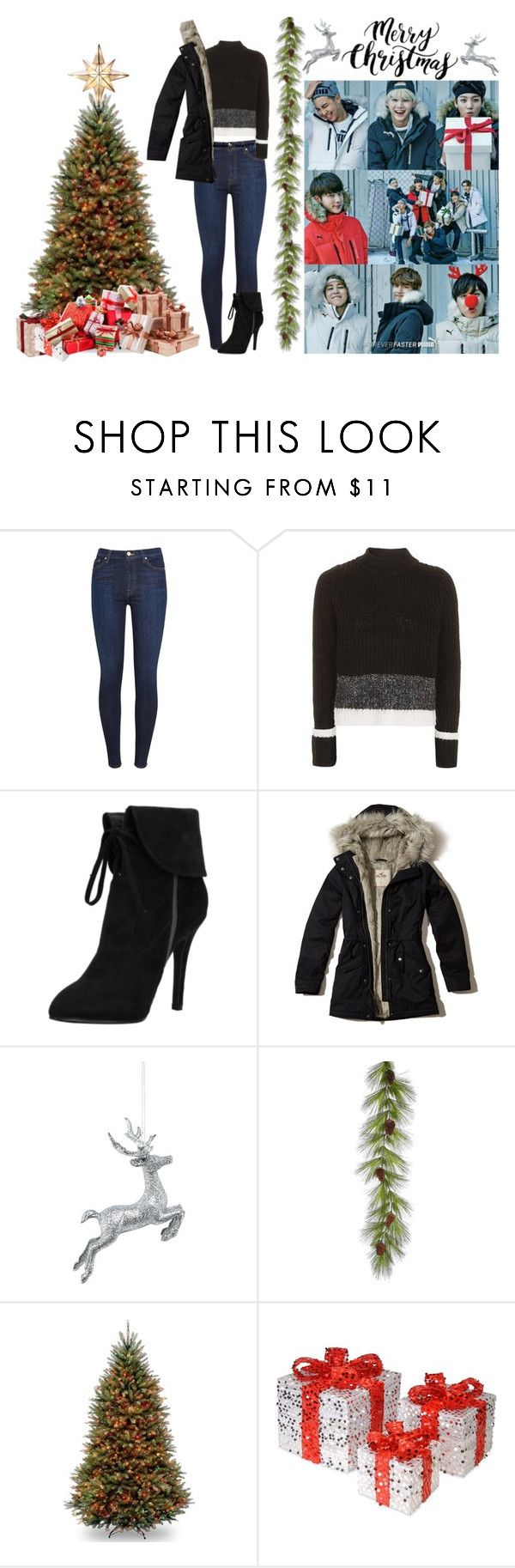 """""""Black Christmas"""" by kookieforever97 ❤ liked on Polyvore featuring 7 For All Mankind, Topshop, Hollister Co., National Tree Company, GE, Christmas, bts, bangtan and bangtansonyeondan"""
