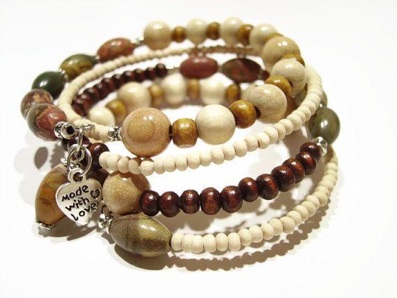Picasso jasper and wood bracelet by AellaJewelry, $19.90 #jasper #gemstone #wood #bracelet