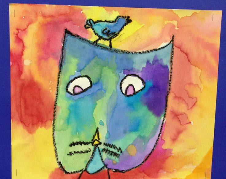 Paul Klee... draw with black oil pastel and paint with liquid watercolors.  Teach warm and cool colors.  Students can choose whether to do cat in warm or cool and opposite for background. Read...The Cat and the Bird: A Children's Book Inspired by Paul Klee