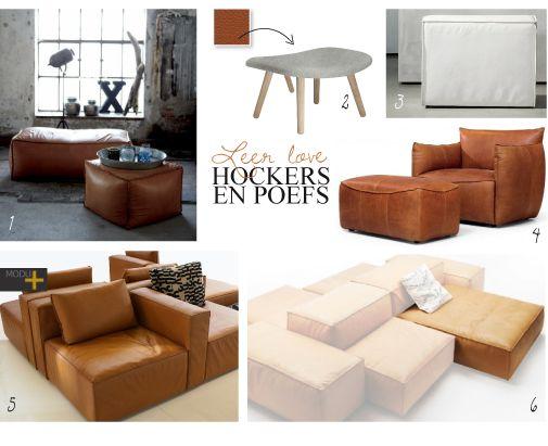 De mooiste hockers en poefs in leer   Interieur design by nicole & fleur