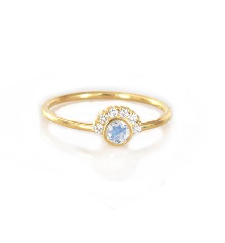 14kt Gold Rainbow Moonstone & Diamond Aztec Ring