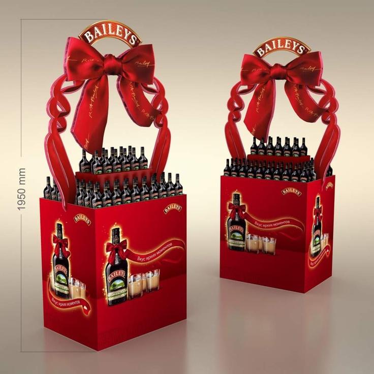 POP Display Me gusta este display de Baileys ya que me sugiere que podrías comprarlo como regalo para alguien y a la vez darte el capricho como si te estuvieras premiando. A parte el uso del color rojo le da fuerza y pasión al display.