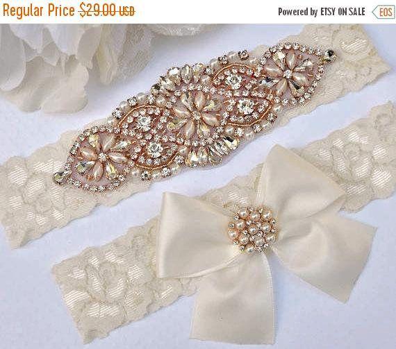 Gorgeous Pearl Rhinestone Garter Wedding Garter Set Stretch Ivory Lace Garter