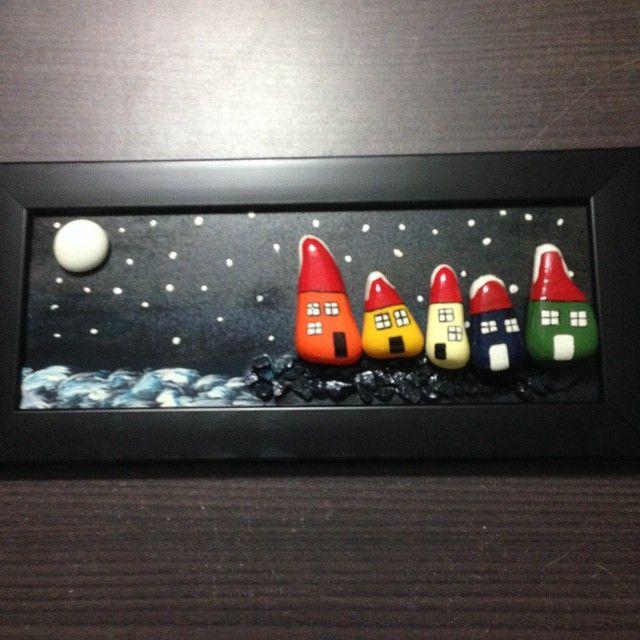 #art #handmade #pebbleart #houses #sweat #frame #special