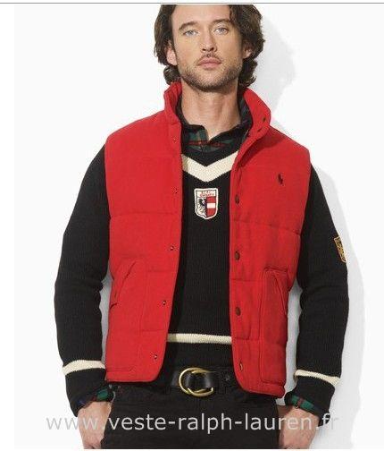 Polo officiel - polo veste hommes mode coreenne slim down pas cher rouge Veste Sans Manche Ralph Lauren Homme
