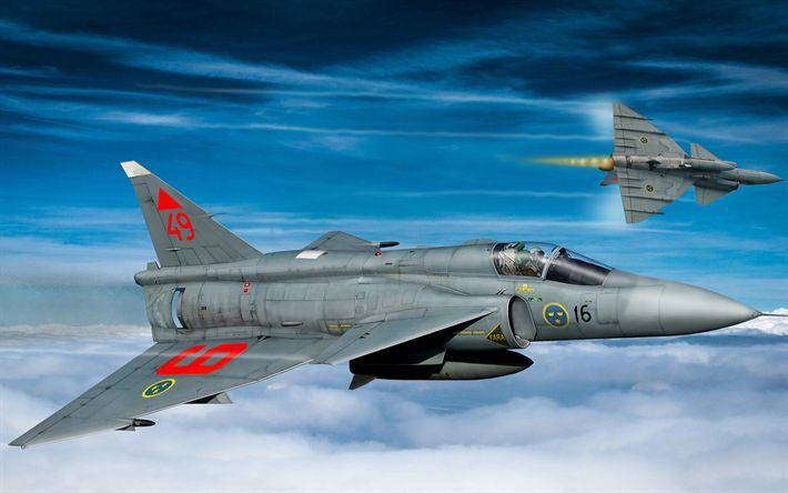 Download wallpapers Saab 37 Viggen, Swedish fighter, 4k, Swedish Air Force, combat aircraft