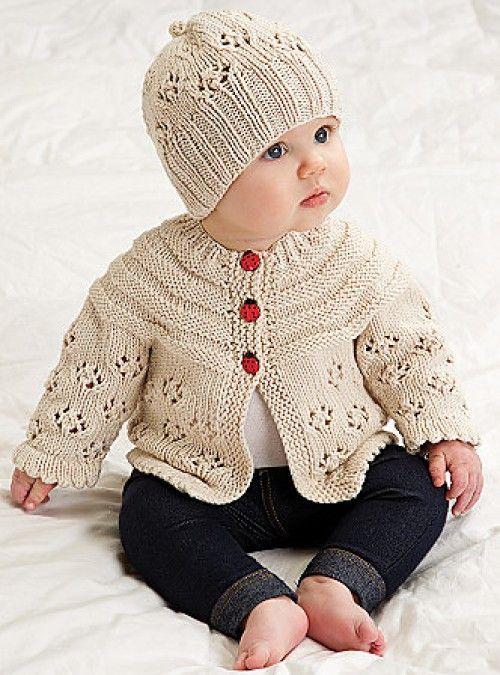 56a12c429 Easy Lace Raglan Jacket & Hat - Free Pattern (Beautiful Skills ...