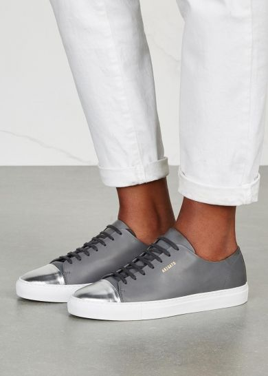 Handmade Axel Arigato grey leather trainers Gold designer stamp, white rubber sole, silver leather round toe cap Lace-up front Come with a dust bag