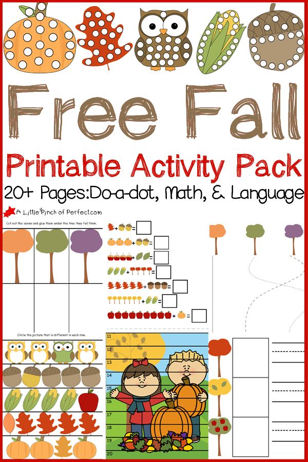 Free Fall Printable Activity Pack: Do-a-dot pages, Math, and Language