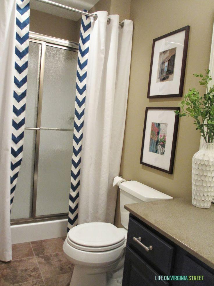 Guest Bathroom No Sew Shower Curtain Tutorial Shower