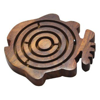 Amazon.com: Brain Puzzles Game Labyrinth Maze Fish Shape Wooden Game Size 4.4 X 4.4 Inches: Toys & Games