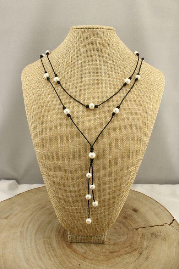 "11-12MM Potato shape pearl necklace,51""Long Freshwater pearl necklace,Pearl leather necklace,High luster pearl necklace,Handmade necklace"