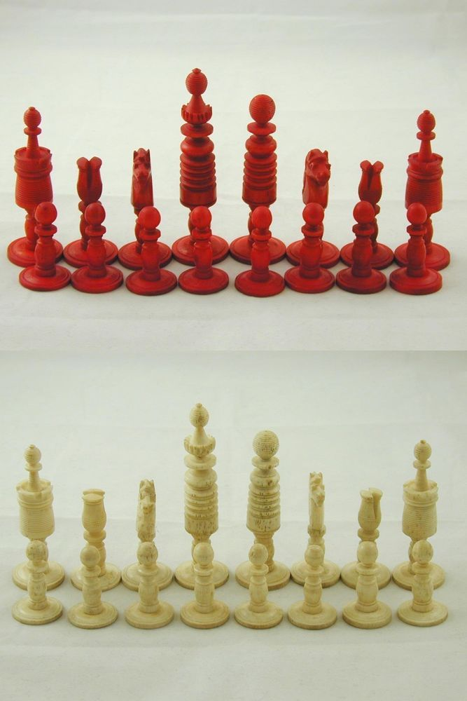 Chess Set Antique Engligh Bone Pieces Barleycorn Rare Georgian Collection Is Best Antiques
