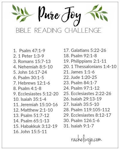 Pure Joy Bible Reading Plan and Challenge - RachelWojo.com