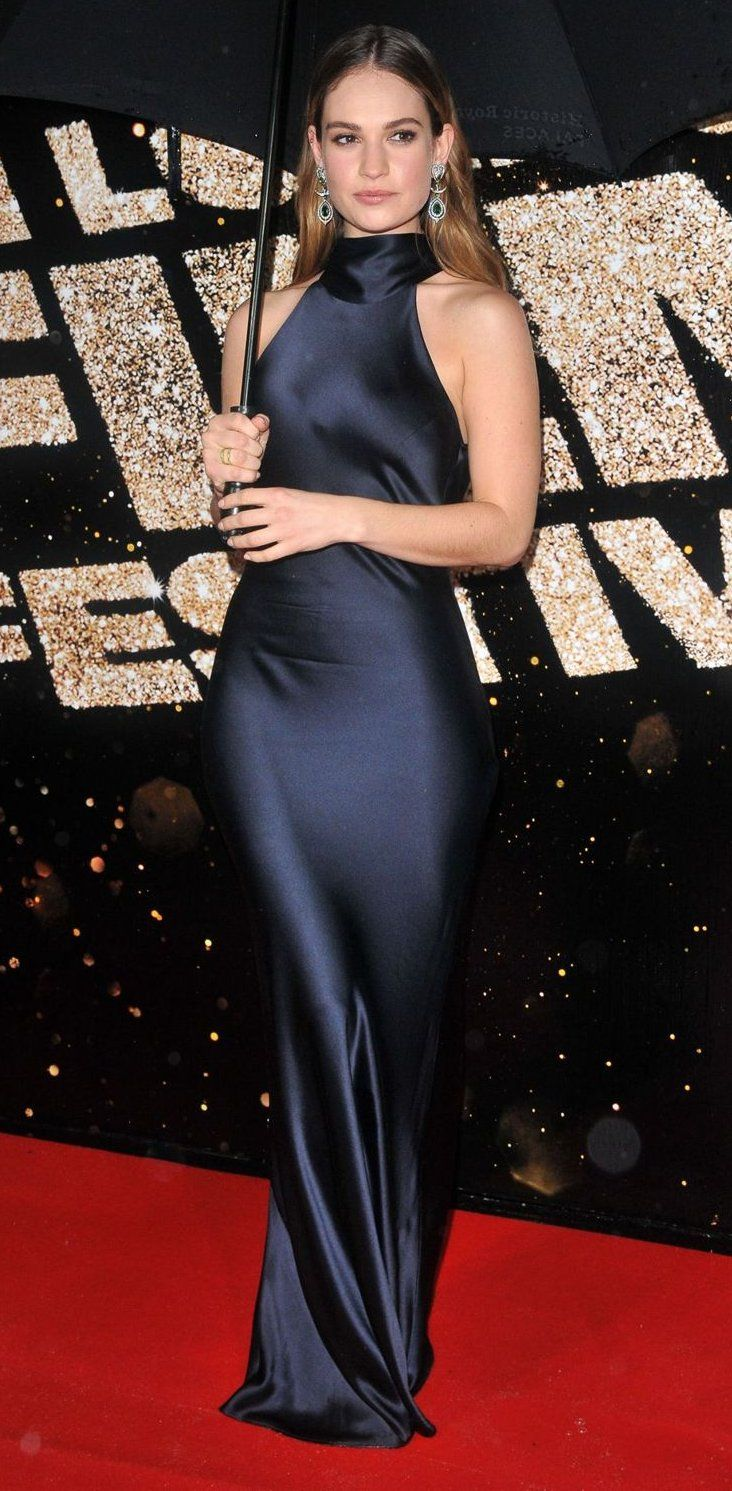Lily James in Galvan attends the BFI London Film Festival awards. #bestdressed