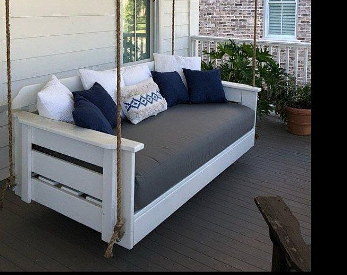Custom Sunbrella Daybed Cover Outdoor Fabric Mattress Etsy Porch Swing Bed Porch Swing Cushions Bed Swing