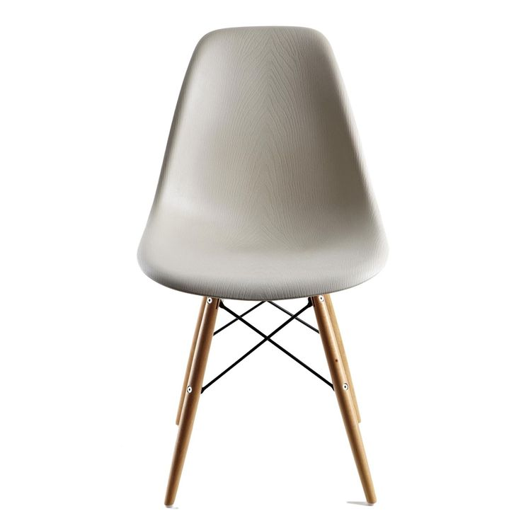 This retro-style beige accent chairs add a contemporary touch to any room. Made from molded plastic with wooden legs and a unique wood grain finish on the seat and back, the ergonomic shape and curved seat provides maximum comfort for you and your guests.