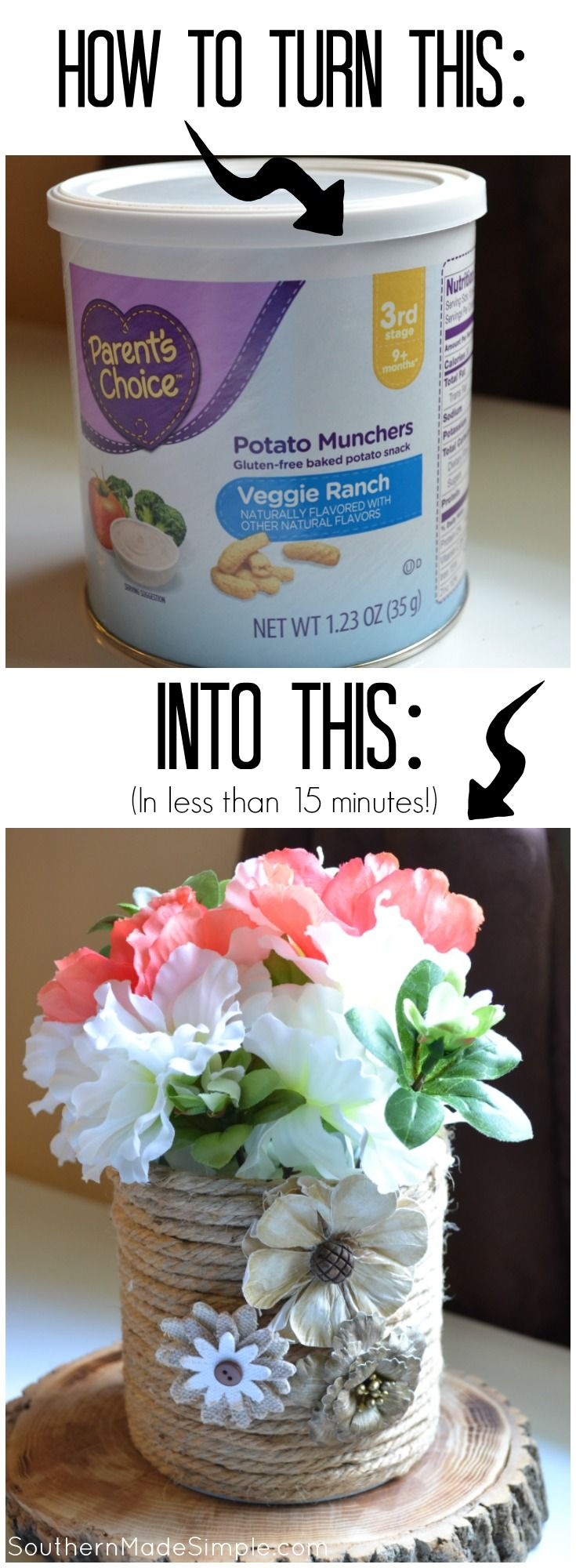 Turn old formula cans into something really great - and in less than 15 minutes! A great way to recycle and repurpose every day items in our life!