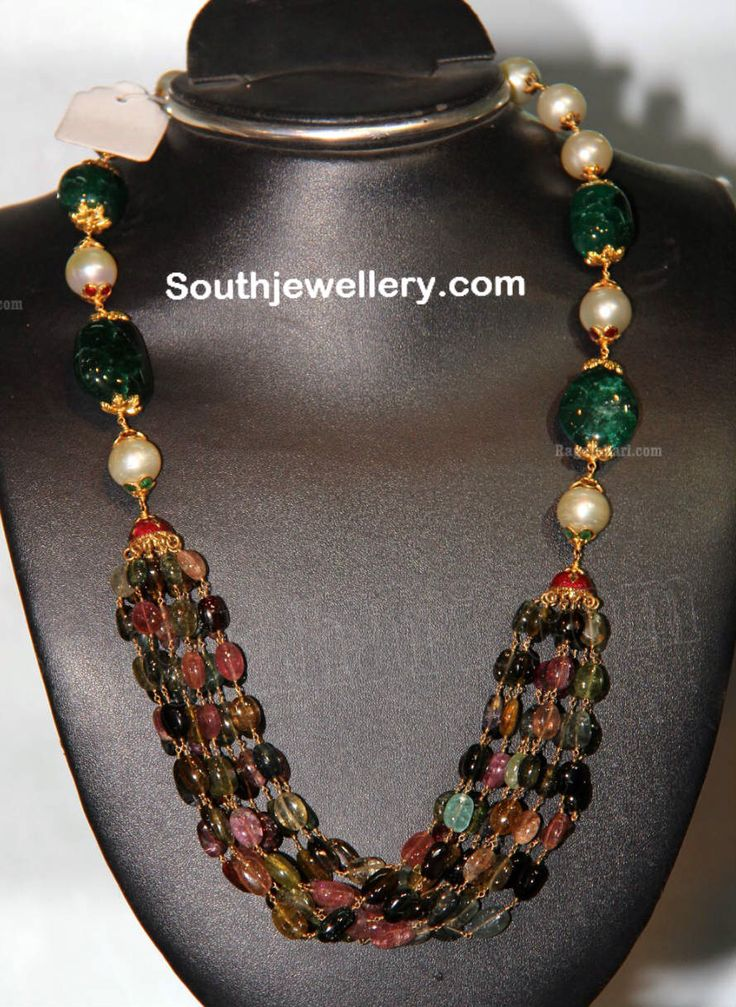 Tourmaline, emerald and pearl. Description by Pinner Mahua Roy Chowdhury