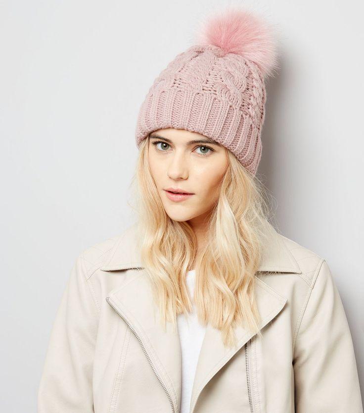 Pink Faux Fur Pom Pom Bobble Hat | New Look