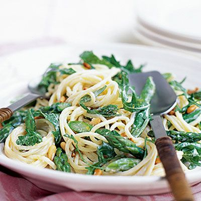 Asparagus and Lemon Spaghetti with Rocket and Pine Nuts