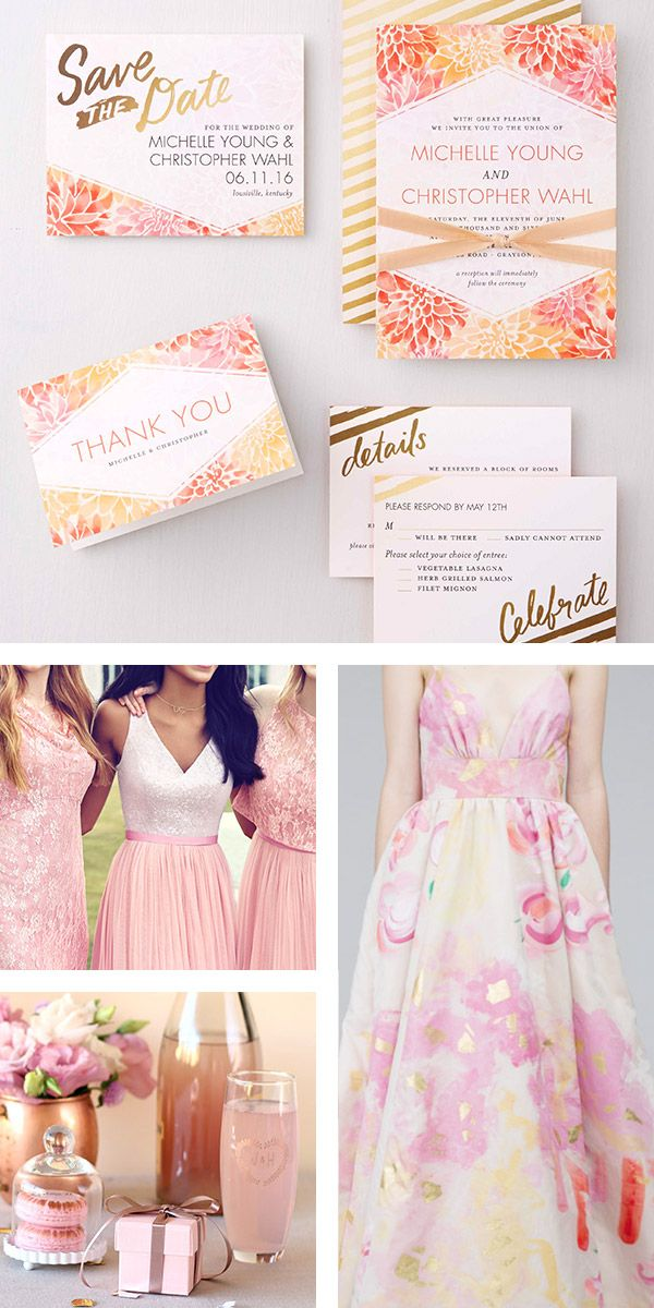 """Spring is almost here, and this calls for some pretty floral wedding inspiration. Here's a gorgeous pink, blush + orange bridal board inspired by @weddingpaper """"Divine Dahlias"""" invitation suite. (invites: Wedding Paper Divas, bridesmaids: Kelsey Rose, dress: Kate Mcdonald, favors: Beau-Coup) #WeddingPaperDivas #weddingboard #inspirationboard #sponsor #weddinginvites #engaged #bridesmaids #wedding #blush #pink #weddingdress #weddingfavor #invitation"""