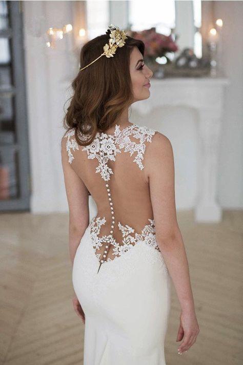 Stunning Mermaid Sleeveless Lace Wedding Dress Zipper Button WD041