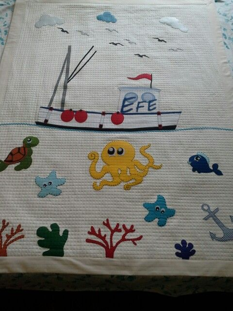 Appliques quilt, sea, star Turtles, fish, efe