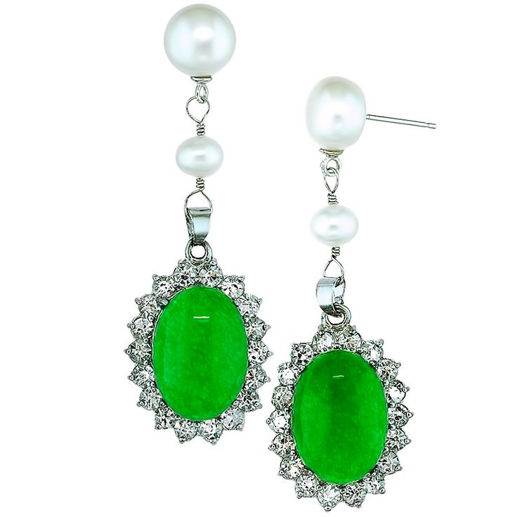 Lost Dynasty Orchira White Pearl And Jade Earring Drops More